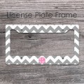 Pink circle monogrammed car tag frame